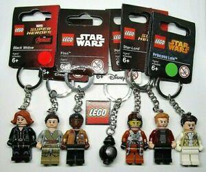 Lego Minifigure Keyrings - Star Wars & Marvel Super Heroes - Black Widow etc