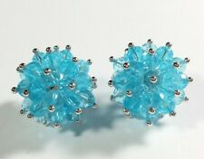 """925 STERLING SILVER CLUE CUBIC ZIRCONIA CLUSTER STYLE 1"""" POST EARRINGS"""
