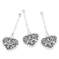 5PCs Hot Copper Charm Pendants Hollow Heart Silver Tone 4.1cmx1.6cm
