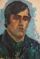 Vintage oil painting impressionist man portrait