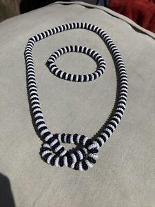 Handmade Black and White Beaded Jewellery - Necklace And Bracelet Set