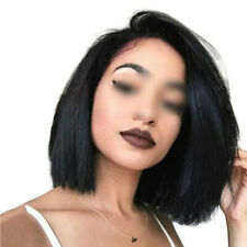 USA Indian Human Hair Wig Short Bob Straight Lace Front Wig Heat resistant Wig