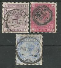 SG178,180 & 183 THE 1884 QV 2/6d  5/- & 10/- good to fine used cat £935