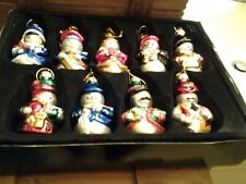 Thomas Pacconi 18 Glass Snowman Ornaments In Wooden Box 2003