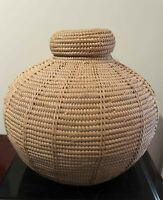 OUTSTANDING LARGE ANTIQUE AFRICAN UGANDA STORAGE BASKET, Hand Woven, Excellent!
