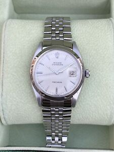 ROLEX VINTAGE  STAINLESS STEEL OYSTERDATE PRECISION 6694 34MM WATCH