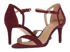 Michael Kors Simone Mid Sandal Ankle Strap Sandals Ox Blood Suede 7.5m