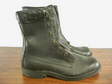 Vtg Black Leather Mens Combat Biker Riding Motorcycle Soft Toe Boots Size 11 D