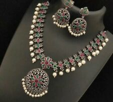 Indian German Silver Ethnic Red Green Stone Pearl Necklace Jhumki Earrings Set