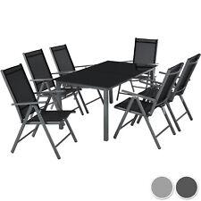 Aluminium 6+1 salon de jardin ensemble sièges meubles chaise table en verre