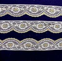 "Vintage Lace Trim 2"" wide White Metallic Gold Festive 3"" Scallops 8 yards Lot 78"