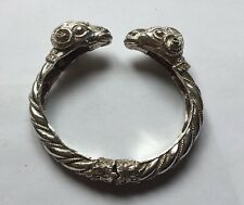 Vtg Solid Sterling Silver Hinged Double Rams Head Ladies Twist Bangle Bracelet