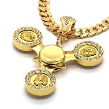"Hip Hop 14k Gold Plated Lion Head Spinner Pendant  30"" Cuban Chain"