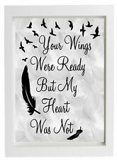 "Vinyl Sticker Fits 10"" x 8"" Frame - Your Wings Were Ready But My Heart Was Not"