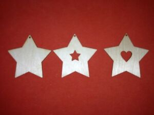 10 x S - STARS 8cm VARIATIONS of BLANK WOODEN SHAPES XMAS HANGING GIFT DECOR TAG