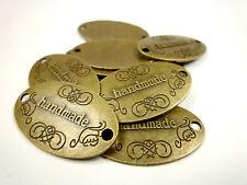 HANDMADE Label Etikett 10 Stück Bronze 32x19mm Verbinder Applikation Aufnäher