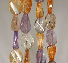 """14X10MM  MIX QUARTZ GEMSTONE FACETED TWIST OVAL  LOOSE BEADS 7"""""""