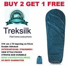 TEAL MUMMY Silk Liner Sleeping Bag Extra Layer Warm Trek Light Travel Sheet Sack