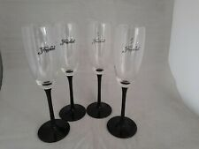 4 x Vintage champagne flutes with black stem 22cm tall (11a)