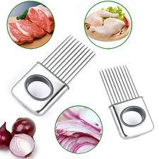 Edelstahl Zwiebelhalter Slicer Gemüse Werkzeuge-Tomatenschneider Küchenhelfer