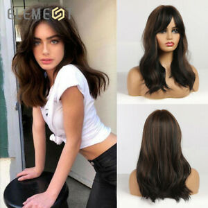 Element Synthetic Nature Wave Wig Black Brown Hair Wigs with Bangs for Woman