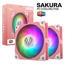 2pcs Vetroo Sakura Pink ARGB LED 120mm PC Computer Case Cooling Fan 5v 3pin