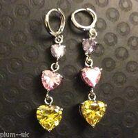 J34 Citrine, amethyst, pink sapphire, white gold gf drop dangle earrings BOXED