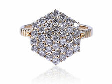 Pave 1.25 Cts Natural Diamonds Engagement Ring In Fine Certified 14K Yellow Gold
