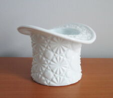 "Daisy and Button Top Hat White Milk Glass Pressed Large 3 1/4"" Vintage USA"