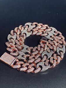 Men's Miami Cuban Gucci Link Chain Diamond Two Tone Rose White Figarucci Choker