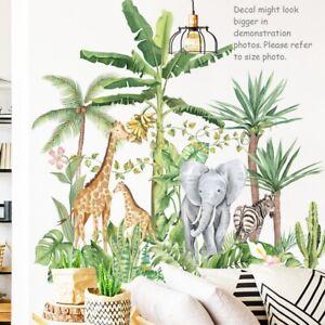 Safari Jungle Animal Removable Wall Decals Elephant Giraffe Zebra Tree Plants AU