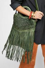 Free People NWT Juliet Green Leather Macrame purse Tote Bag