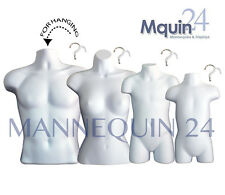 4 White Mannequin Torsos: Male, Female, Child & Toddler Body Forms w/Hangers