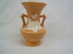 "Vintage Weller Orange Handled Vase 6 7/8"" Height VGC"