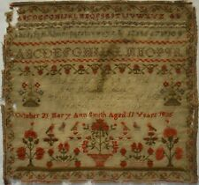 EARLY 19TH CENTURY MOTIF, VERSE & ALPHABET SAMPLER BY MARY ANN SMITH - 1835