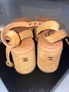 Chanel suede beige  Wedge Platform sandals shoes  Sz 35 5