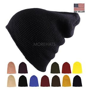 Waffle Knit Soft Slouchy Beanie Winter Warm Ski Skater Hip-hop Hat Men's Women's