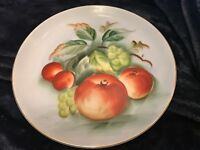"8"" Lefton Fine China Plate #SL3208 - Hand Painted fruit scene"