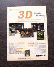 I476-Advertising Pubblicità- 1996 - MICROSOFT 3D MOVIE MAKER