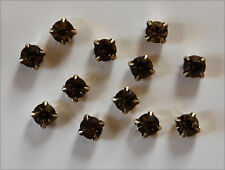 VINTAGE SEW ON GLASS RHINESTONES BEADS BLACK DIAMOND SILVER TONE 29ss