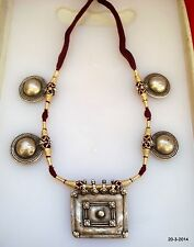 vintage antique tribal old silver pendant necklace choker belly dance jewelry di