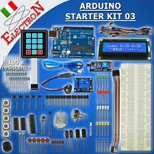 ARDUINO STARTER KIT 03 UNO R3 16U2 LCD 1602 LED RESISTENZE LDR IR PIR BREADBOARD