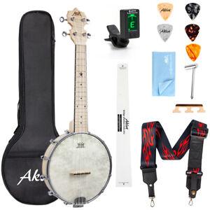 Mini Banjo Ukes Purple With Gig Bag Tuner String Strap Picks Mulucky 4-String Banjo Ukulele BU80P