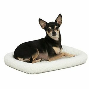 18L-Inch White Fleece Dog Bed or Cat Bed with Comfortable Bolster Ideal for T...
