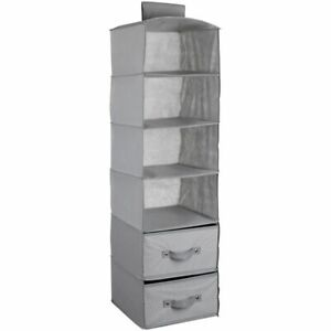 Delta Children 4-Shelf Hanging Storage Unit with 2 Drawers, Grey