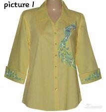 3/4 sleeve rhineston Peacock design shirt set sizes S M L XL. 1X 2X 3X