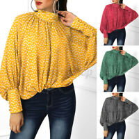 US Womens Dolman Sleeve Tops Printed Oversized Shirt Vintage Blouse Pullover Tee