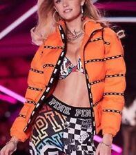 Victorias Secret Pink Fashion Show 2018 Puffer Jacket Orange Blast Medium --New