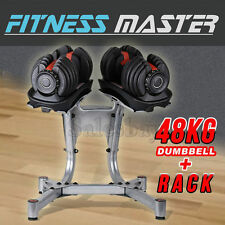 48kg Adjustable Dumbbell Set W Stand Home Gym Exercise Equipment Weights