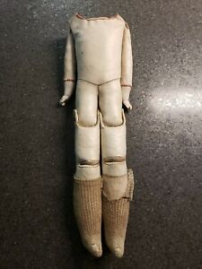 Antique  German? Leather Doll Body With Bisque Hands Saw Dust Filling